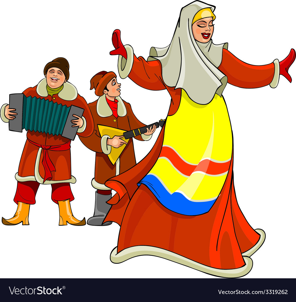 In the russian national dress dancing woman vector   Price: 3 Credit (USD $3)