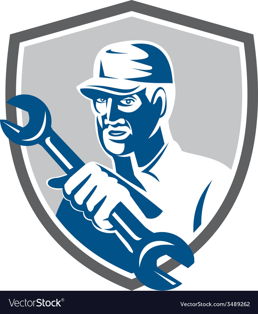 Mechanic holding spanner wrench shield retro vector | Price: 3 Credit (USD $3)