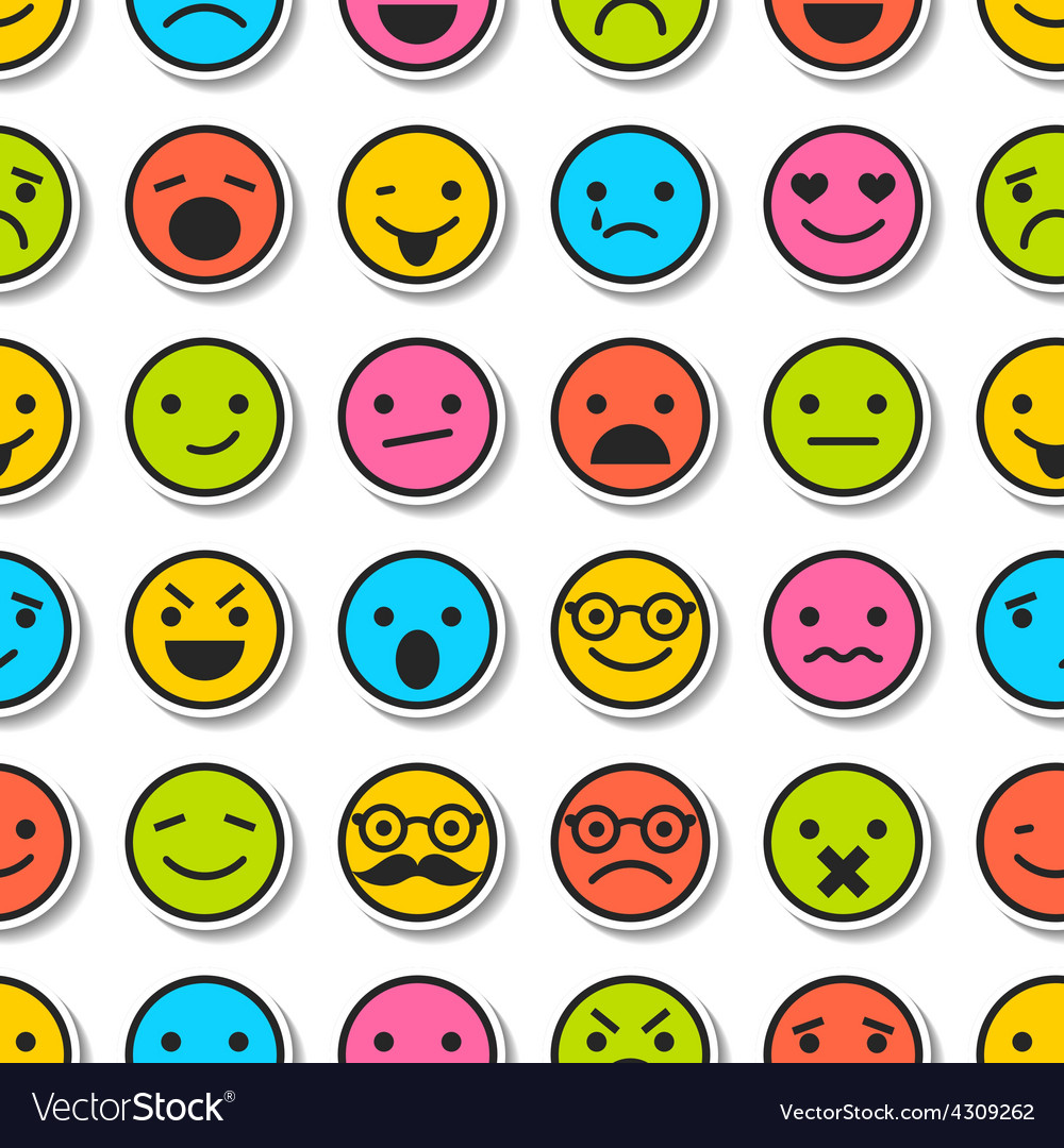 Seamless pattern with color emoticons characters vector | Price: 1 Credit (USD $1)