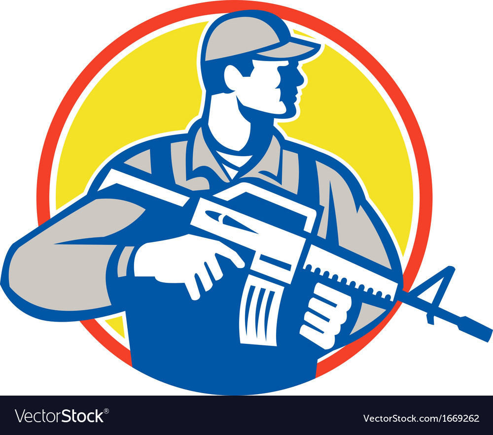 Soldier military serviceman assault rifle side vector | Price: 1 Credit (USD $1)