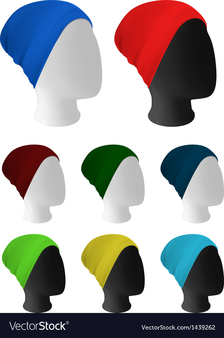 Warm knitted hat on mannequin head template vector | Price: 1 Credit (USD $1)