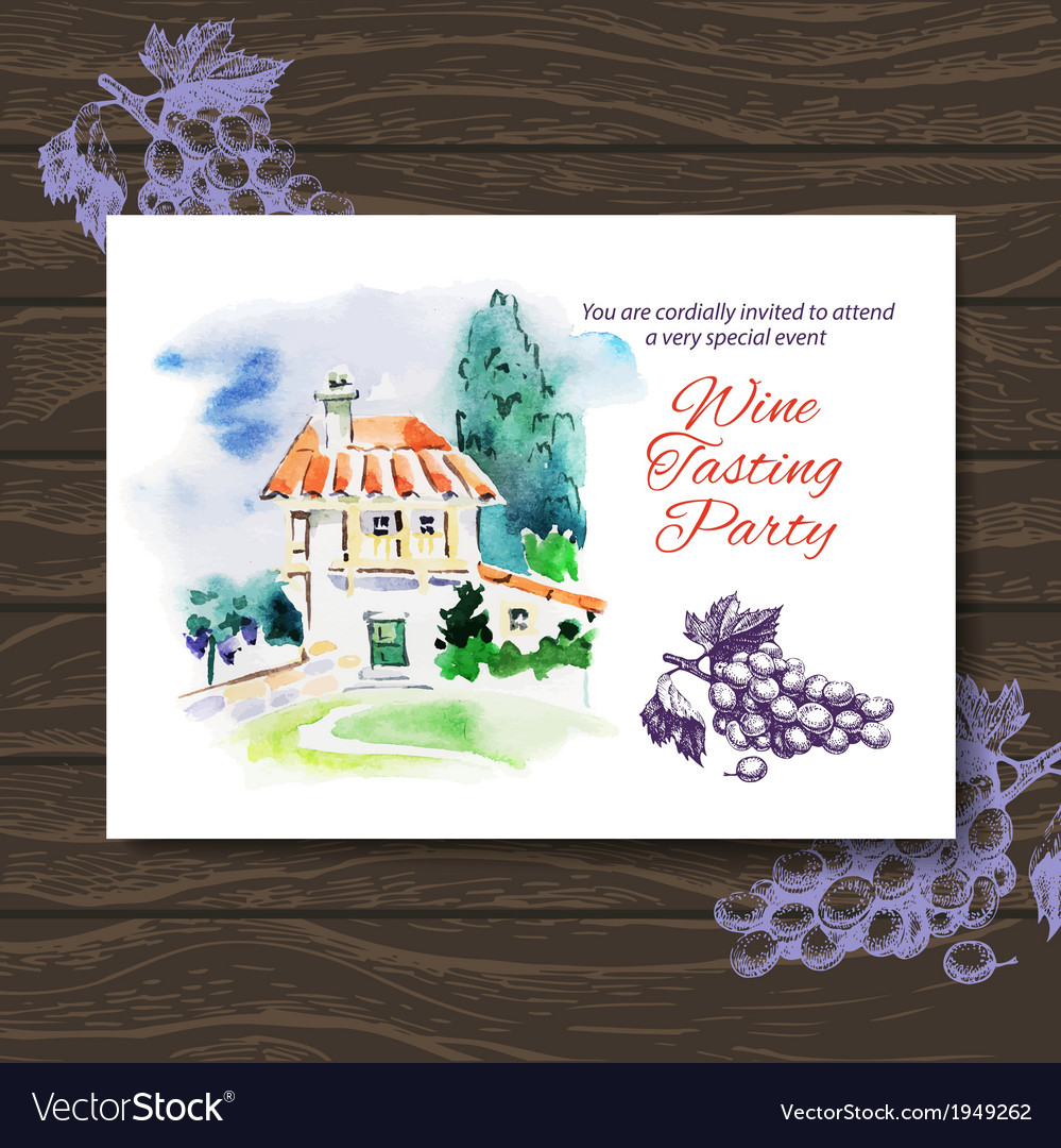 Wine tasting party card design vector | Price: 1 Credit (USD $1)