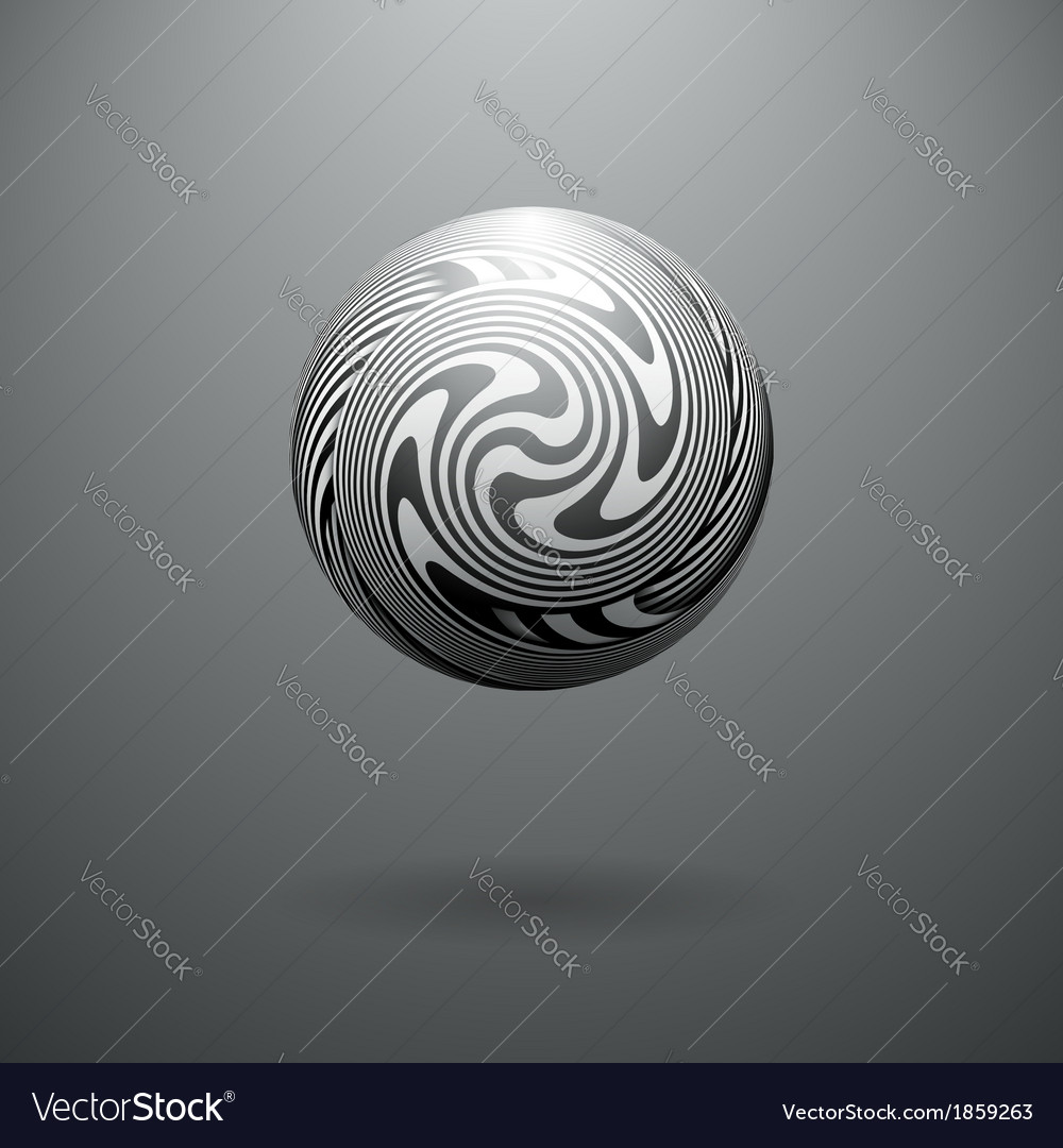 Black and white opt art sphere vector   Price: 1 Credit (USD $1)