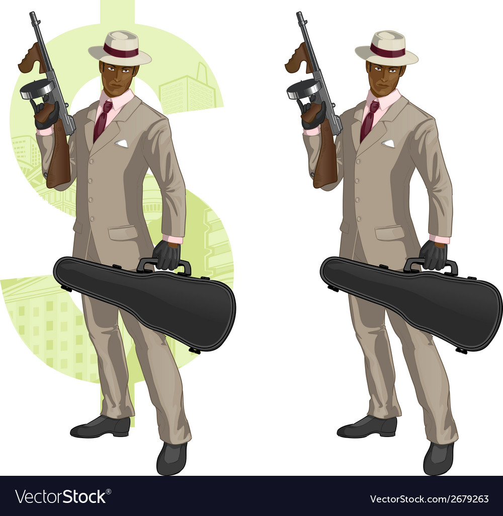 Cartoon afroamerican mafioso with tommy-gun vector | Price: 1 Credit (USD $1)