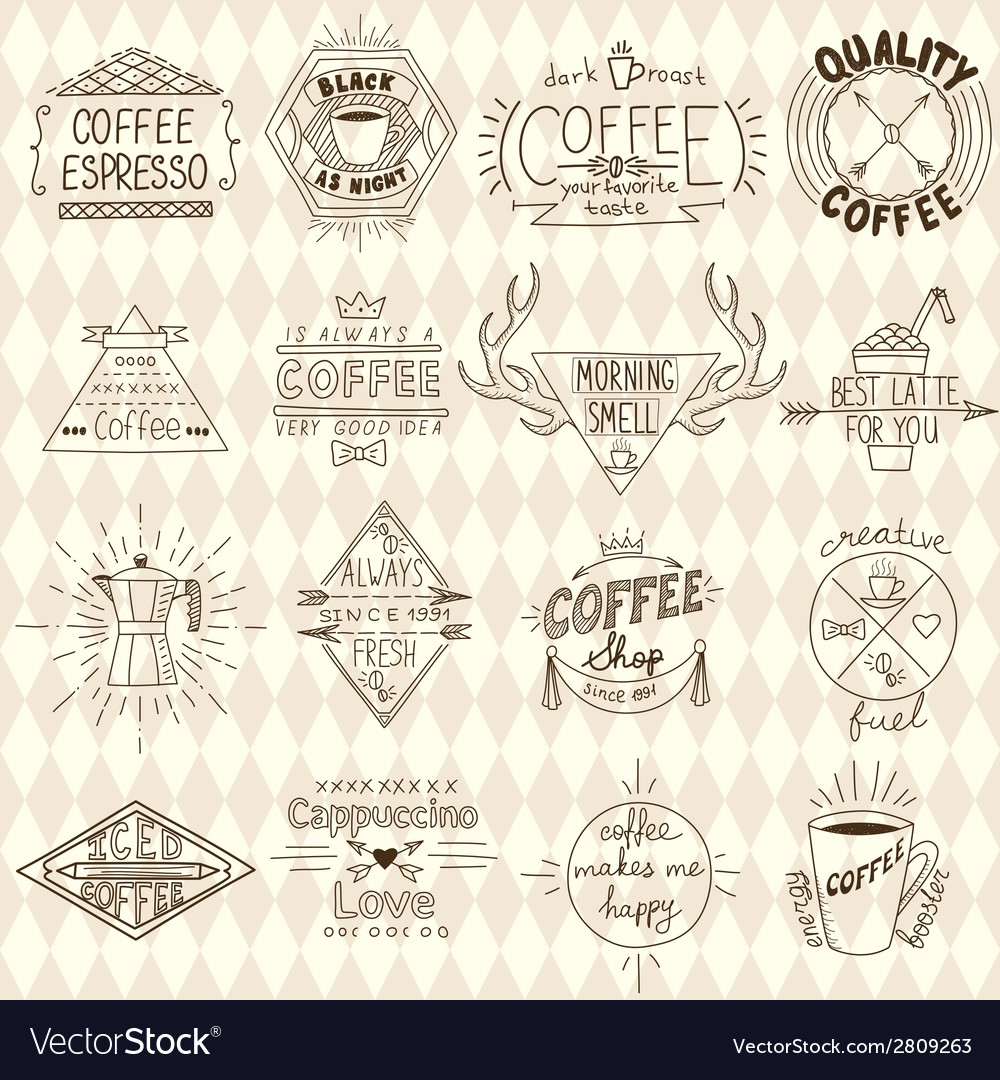 Collection of hipster sketchy coffee labels vector | Price: 1 Credit (USD $1)