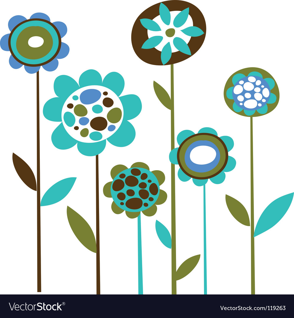 Cute retro flowers vector | Price: 1 Credit (USD $1)