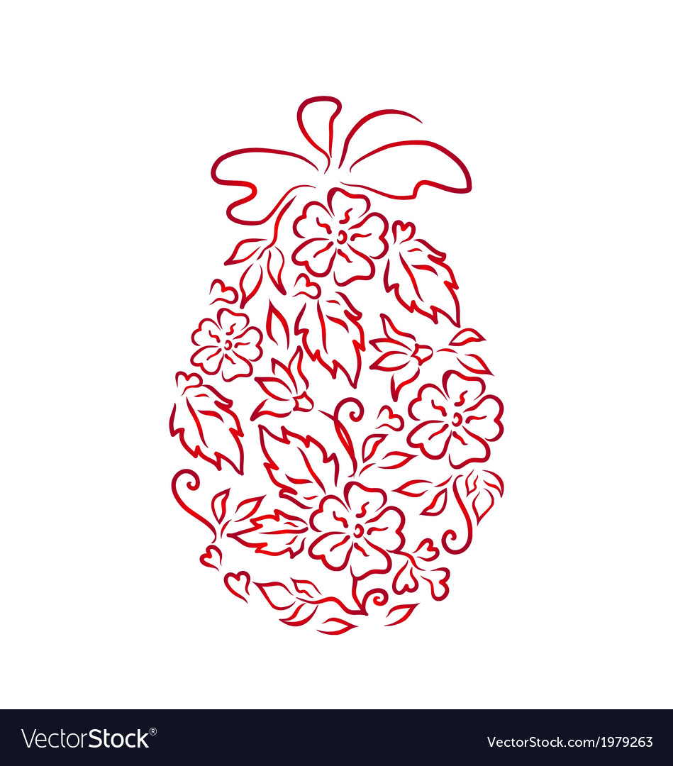Easter ornamental egg in floral style vector | Price: 1 Credit (USD $1)