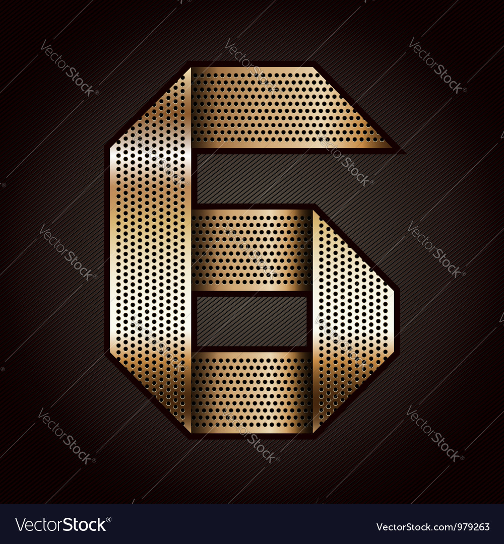 Number metal gold ribbon - 6 - six vector | Price: 1 Credit (USD $1)