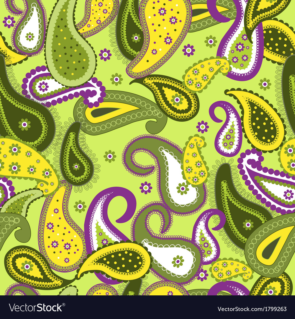 Seamless pattern with paisley background vector | Price: 1 Credit (USD $1)