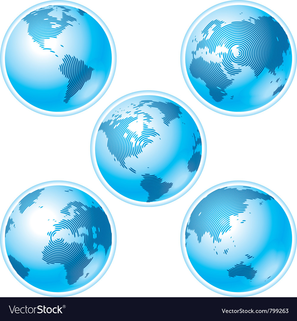 Set of five globes vector | Price: 1 Credit (USD $1)