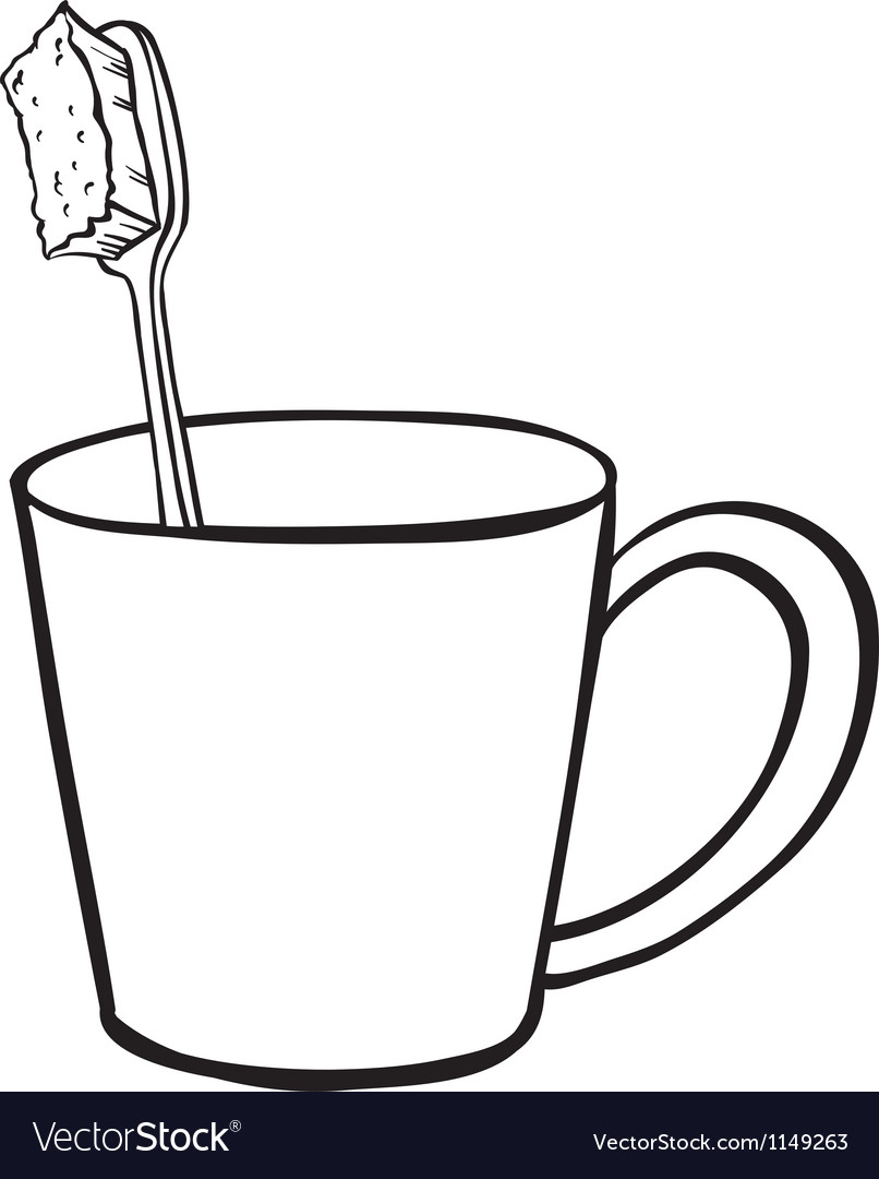 Toothbrush in cup vector | Price: 1 Credit (USD $1)