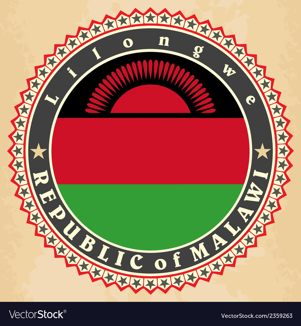 Vintage label cards of malawi flag vector | Price: 1 Credit (USD $1)