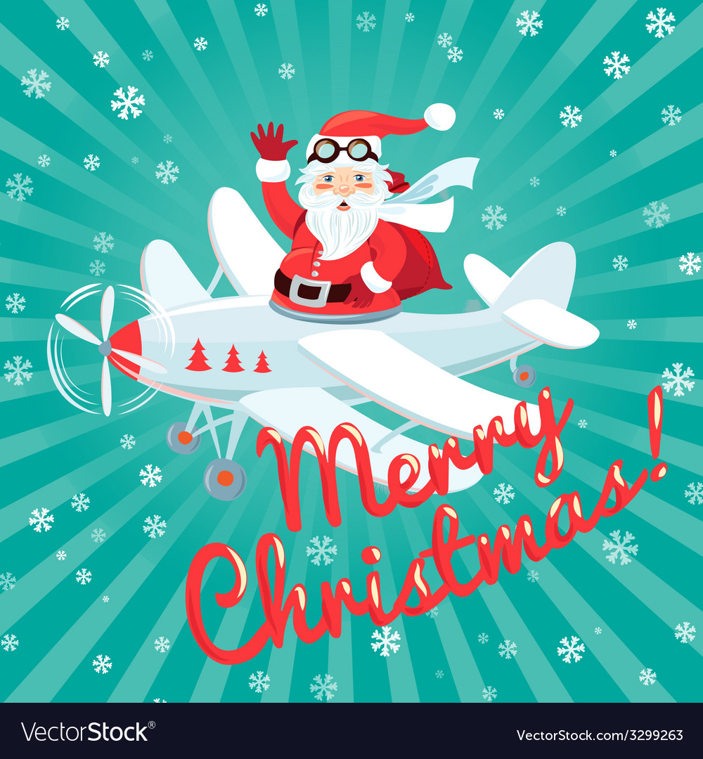 Waving santa claus flying on the plane with sack vector | Price: 1 Credit (USD $1)