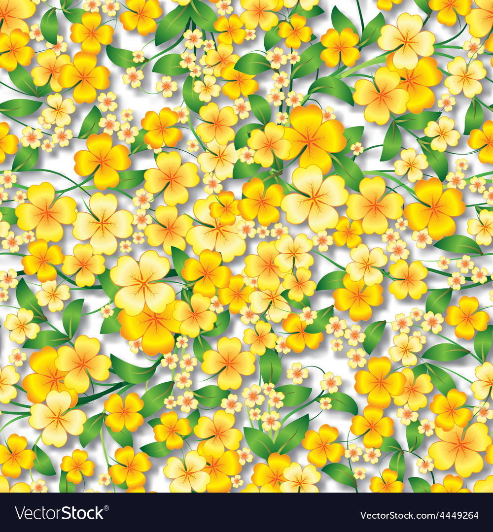 Abstract yellow seamless spring floral ornament vector | Price: 1 Credit (USD $1)