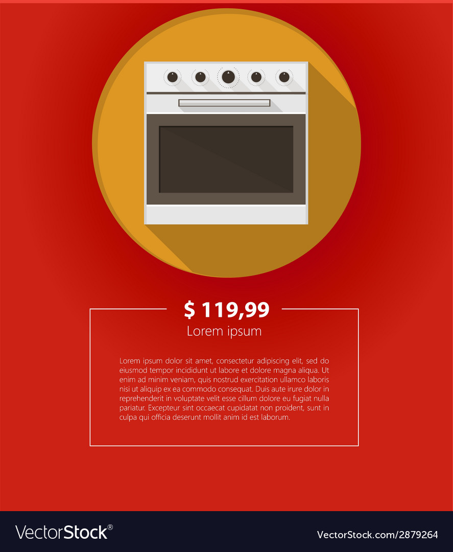 Ad layout for kitchen appliances white oven vector | Price: 1 Credit (USD $1)