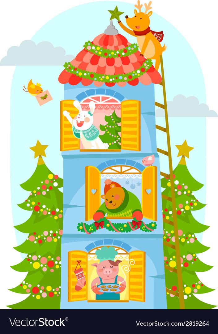 Animals enjoying christmas vector | Price: 1 Credit (USD $1)