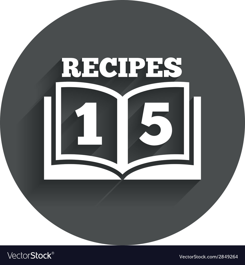 Cookbook sign icon 15 recipes book symbol vector | Price: 1 Credit (USD $1)
