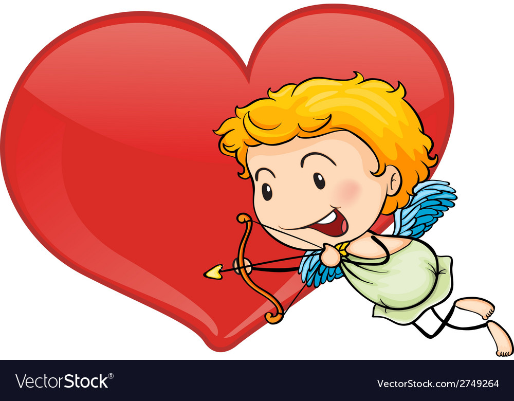 Cupid and heart vector | Price: 1 Credit (USD $1)
