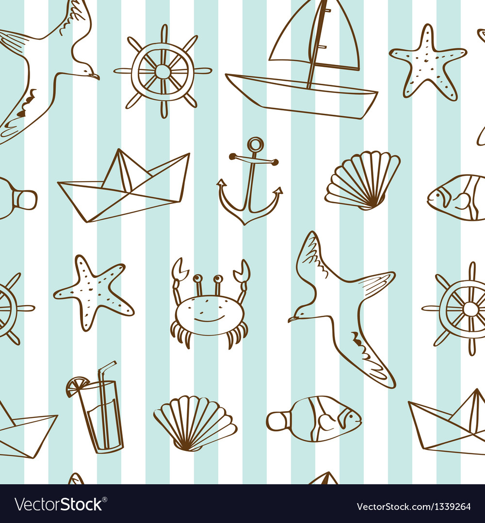 Cute nautical background vector | Price: 1 Credit (USD $1)
