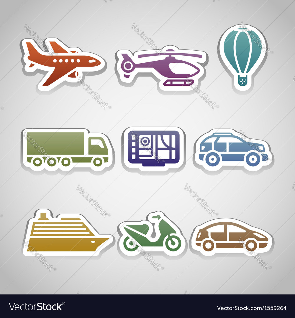 Flat retro color stickers - set ten vector | Price: 1 Credit (USD $1)