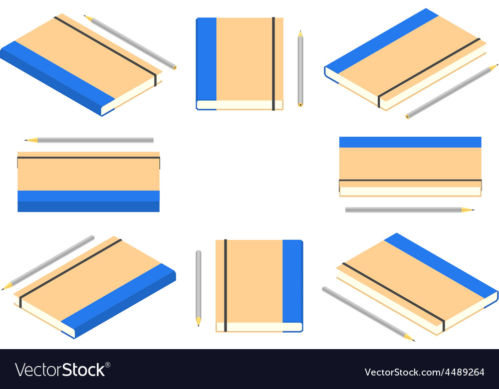 Isometric closed note book with pencil vector | Price: 1 Credit (USD $1)