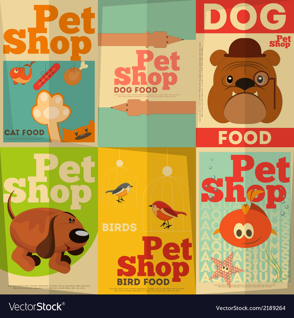 Pet shop posters vector | Price: 1 Credit (USD $1)