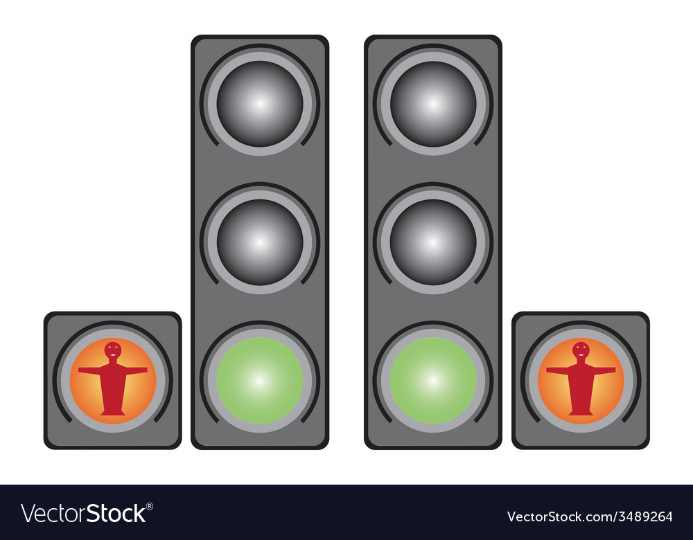 Red pedestrian traffic lights vector | Price: 1 Credit (USD $1)