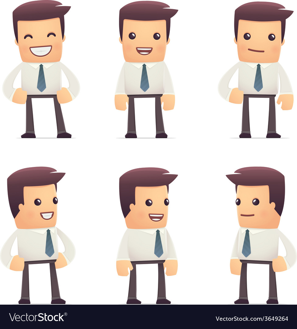 Set of manager character in different poses vector | Price: 3 Credit (USD $3)