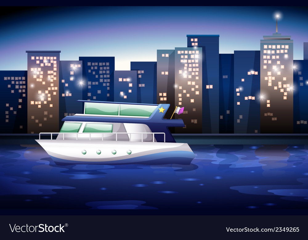 A ship across the tall buildings vector | Price: 1 Credit (USD $1)
