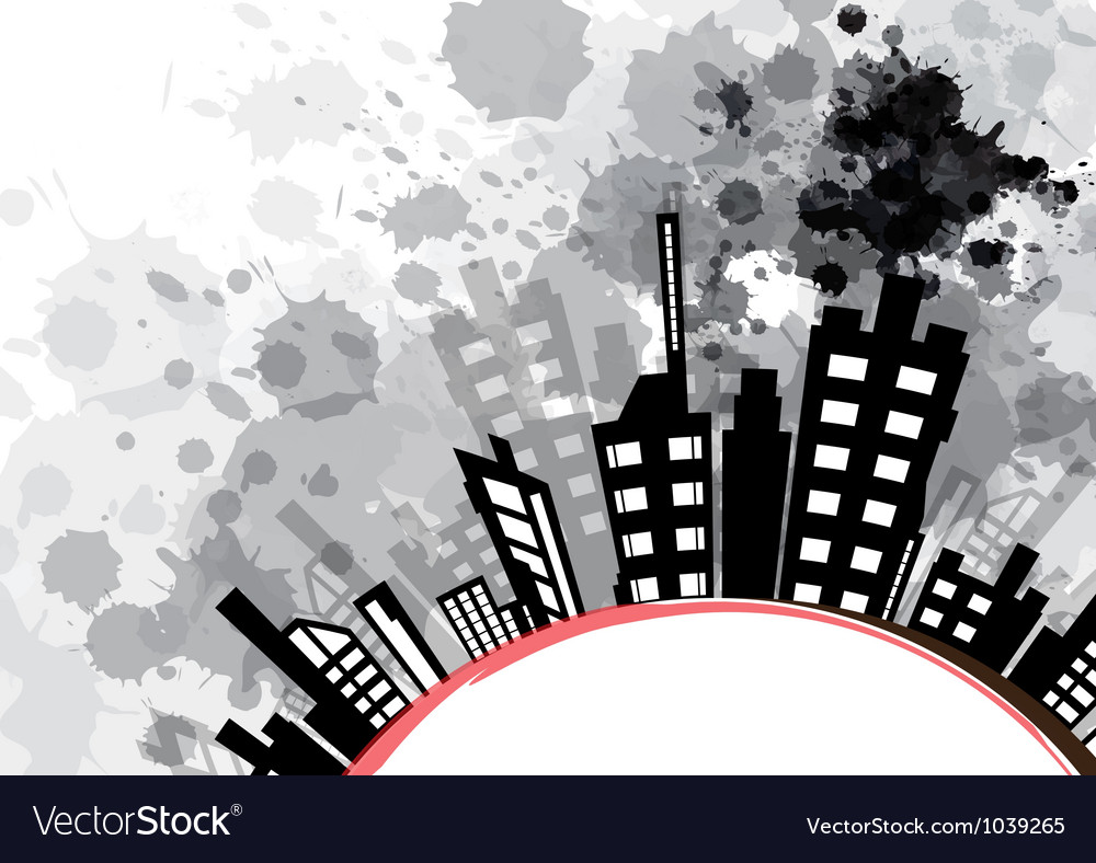 Abstract urban design with black ink splash vector | Price: 1 Credit (USD $1)