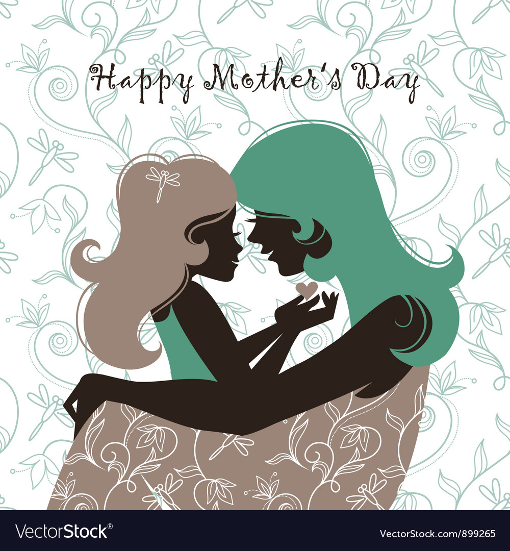 Beautiful mother silhouette with her daughter vector | Price: 1 Credit (USD $1)