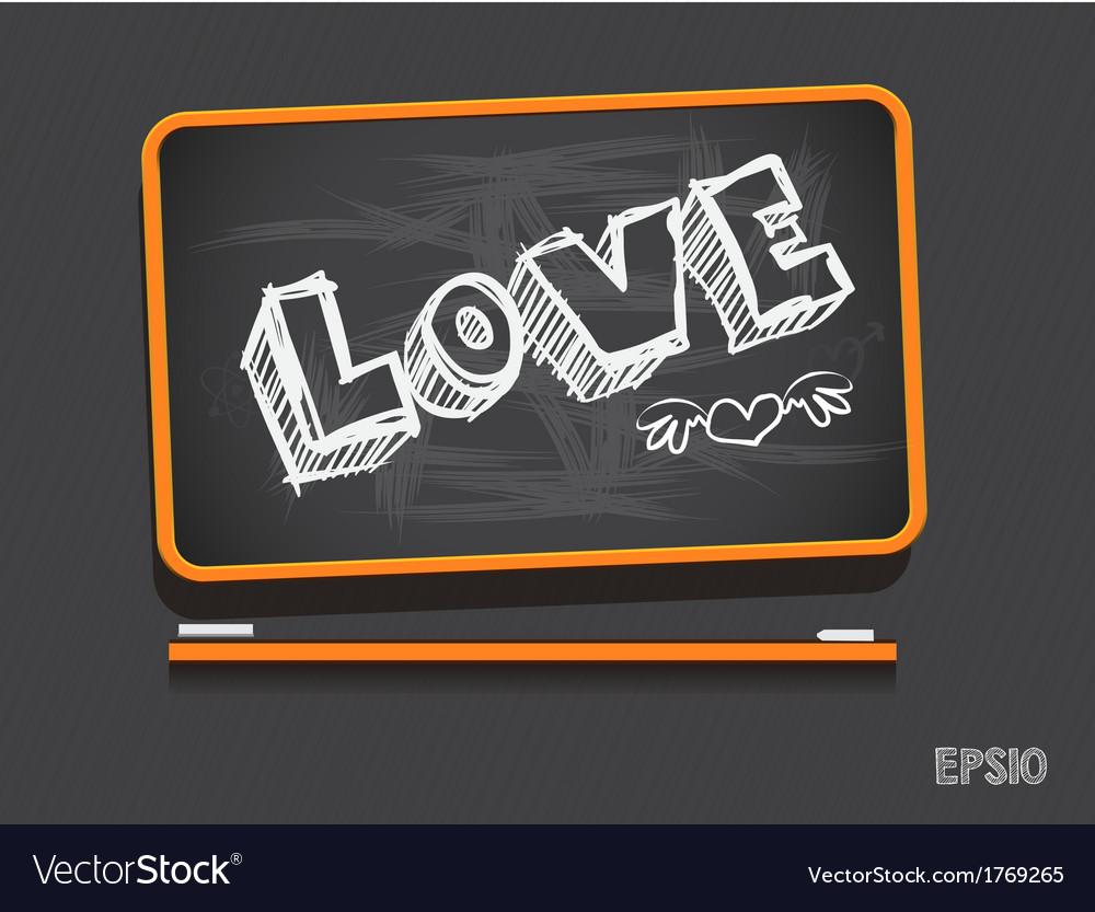 Blackboard love valentines day background vector | Price: 1 Credit (USD $1)
