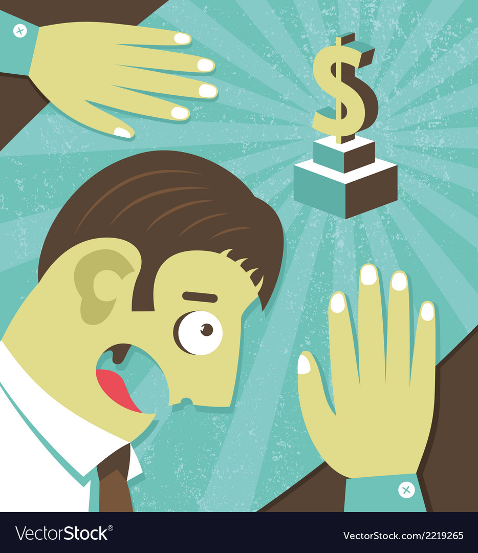 Businessman possessed by money greed vector | Price: 1 Credit (USD $1)