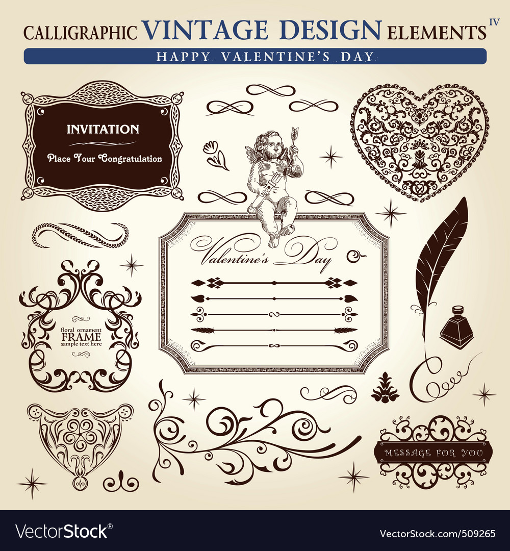 Calligraphic elements vintage ornament set happy v vector | Price: 1 Credit (USD $1)