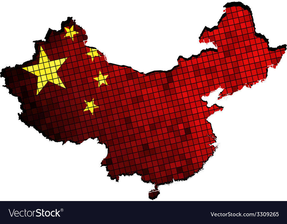 China map with flag inside vector | Price: 1 Credit (USD $1)
