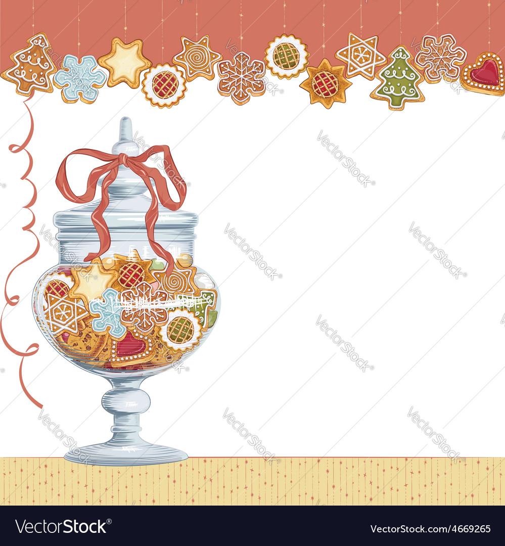 Christmas cookies in glass vase vector   Price: 1 Credit (USD $1)