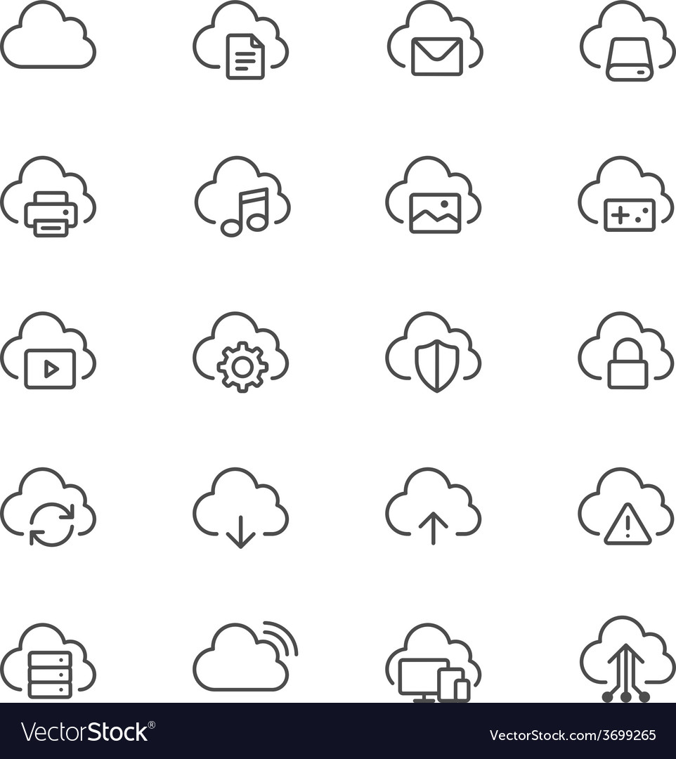 Cloud computing thin icons vector | Price: 1 Credit (USD $1)
