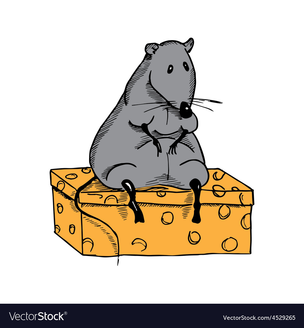 Cute fat cartoon rat on a piece of cheese vector | Price: 1 Credit (USD $1)