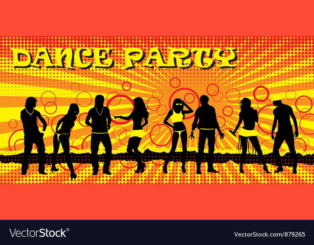 Dance party ticket yellow vector | Price: 1 Credit (USD $1)