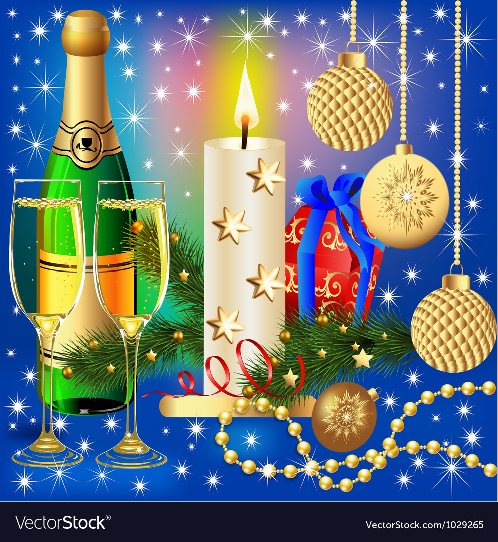 Festive background with candle ball and gift vector | Price: 1 Credit (USD $1)