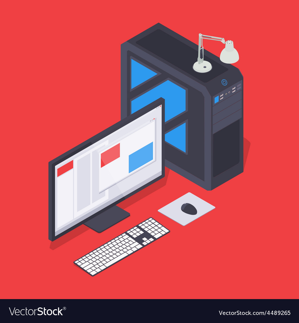 Isometric personal computer vector | Price: 1 Credit (USD $1)