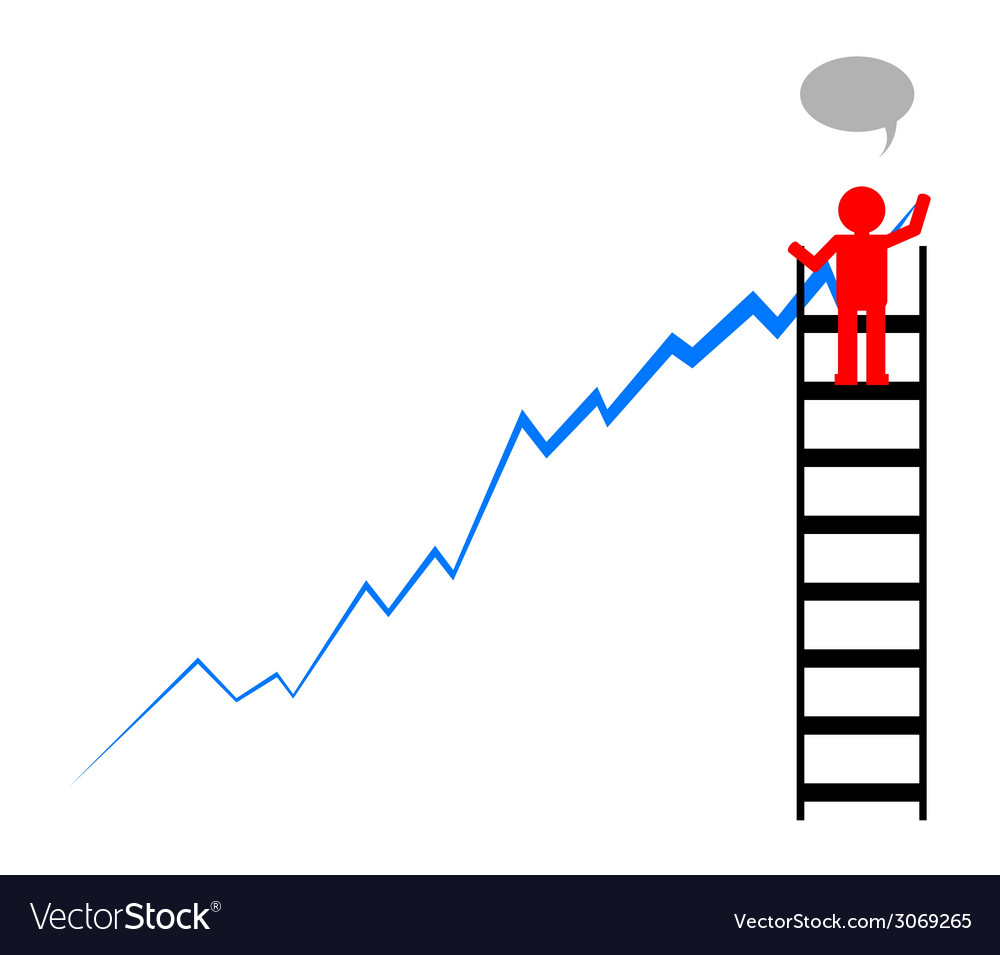 Leader draws financial profit growth chart vector | Price: 1 Credit (USD $1)