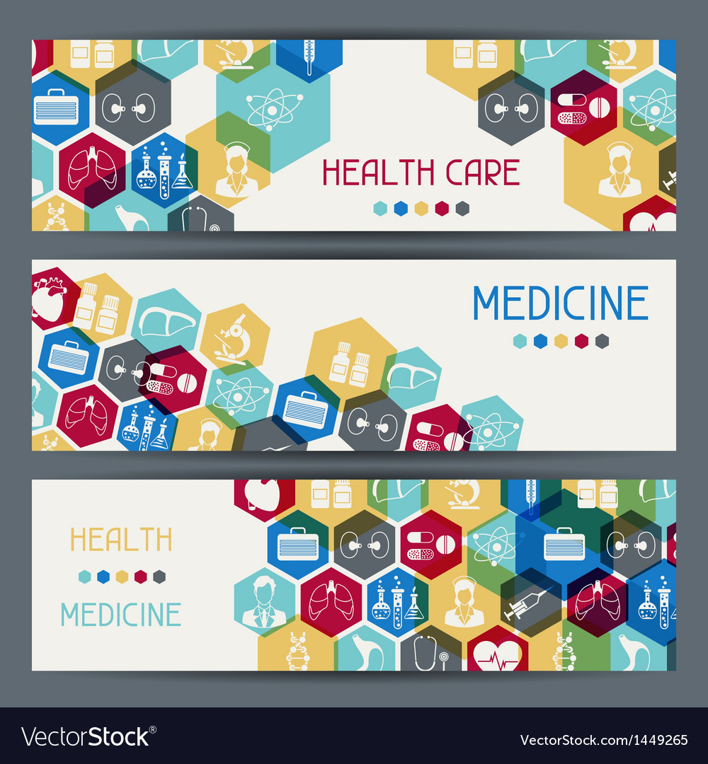 Medical and health care horizontal banners vector | Price: 3 Credit (USD $3)