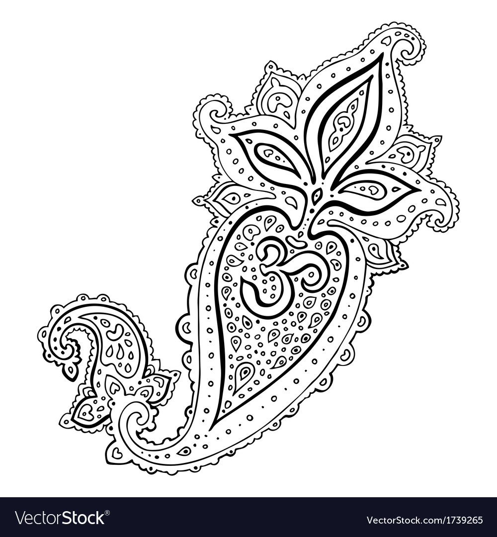 Paisley ethnic ornament om aum symbol vector | Price: 1 Credit (USD $1)