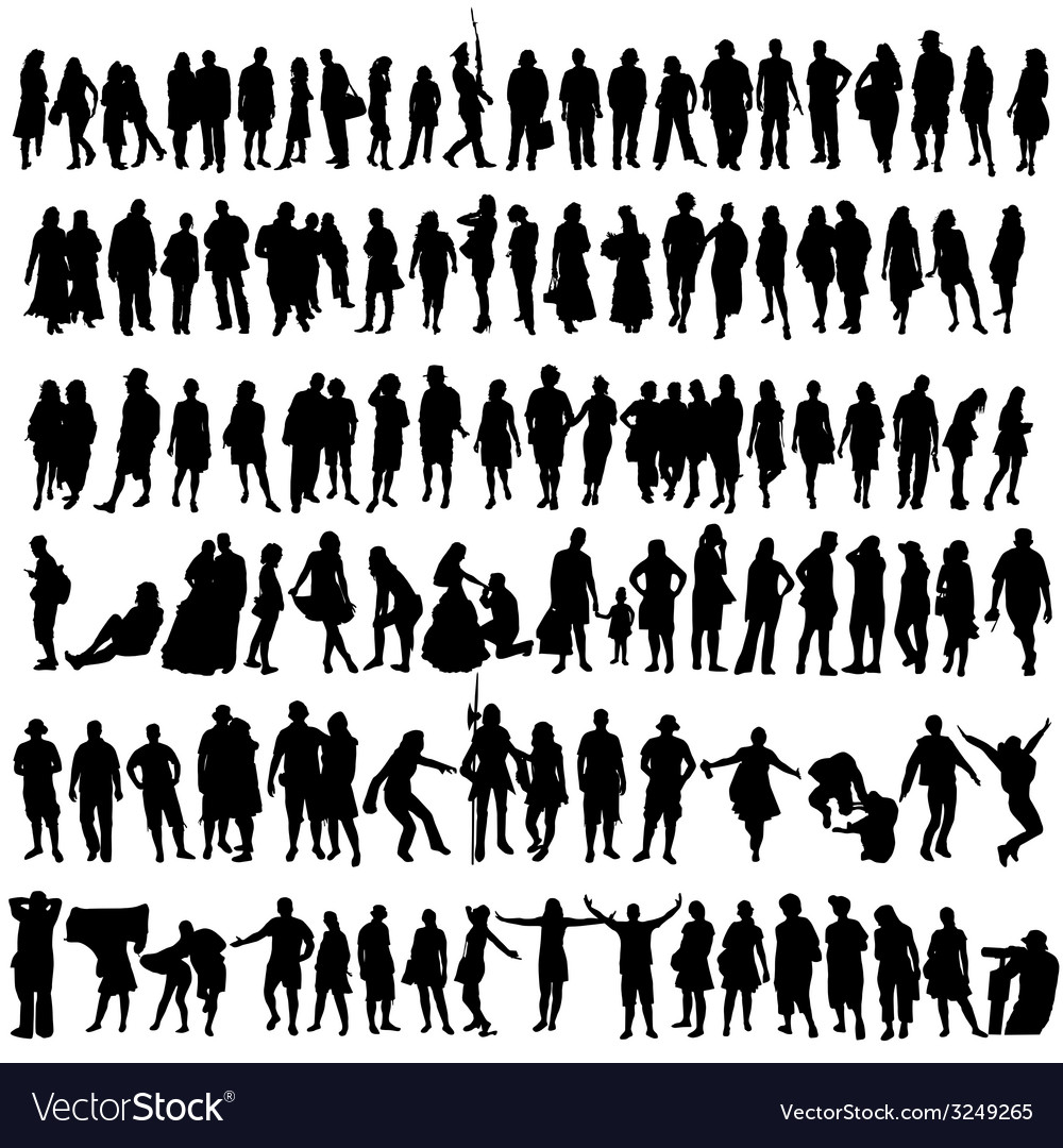 People black silhouette man and woman vector | Price: 1 Credit (USD $1)