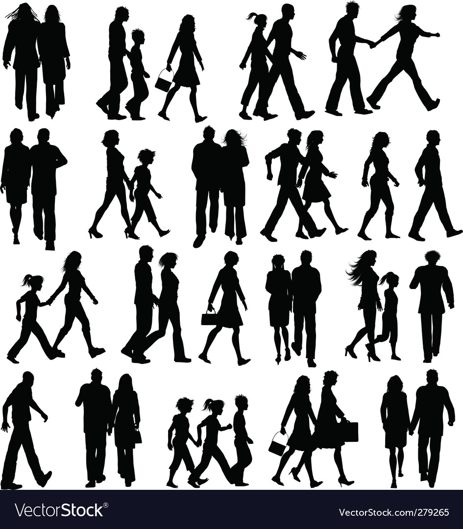 People walking silhouettes vector | Price: 1 Credit (USD $1)