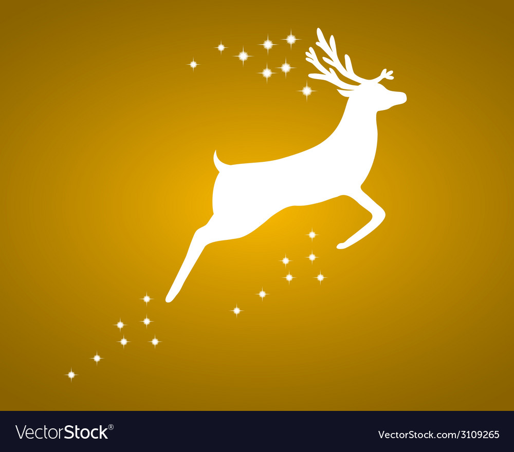 Reindeer with stars on gold background vector | Price: 1 Credit (USD $1)
