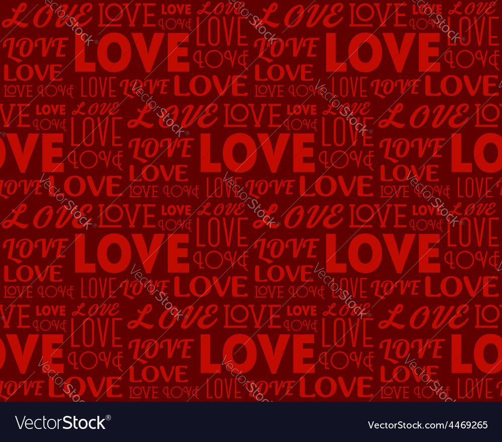 Repeating word love in different fonts seamless vector | Price: 1 Credit (USD $1)