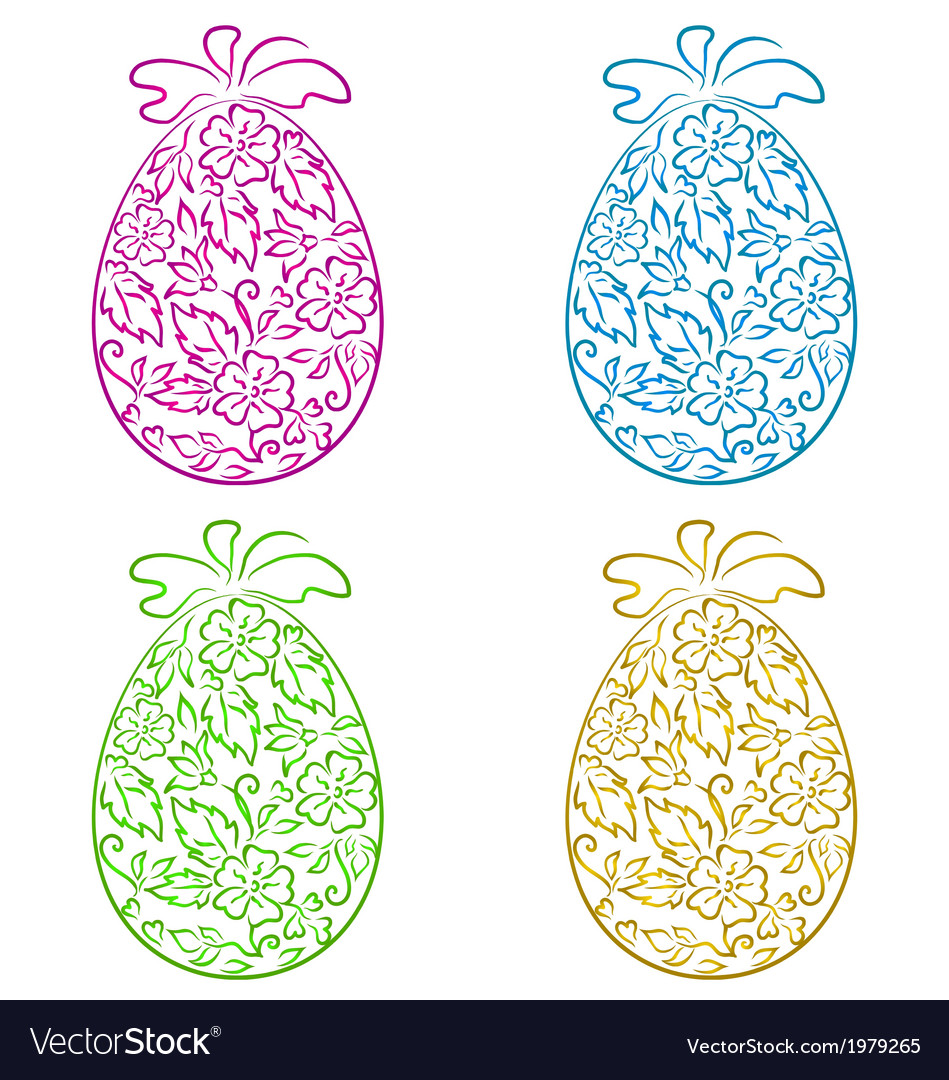 Set ornamental eggs in floral style for easter vector | Price: 1 Credit (USD $1)