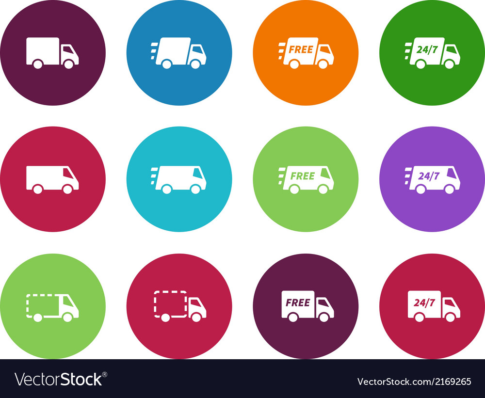 Shopping trucks circle icons on white background vector | Price: 1 Credit (USD $1)